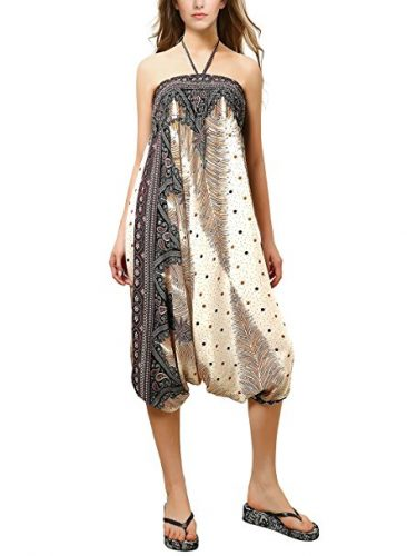 BAISHENGGT - Femme Collection-2 en 1 Sarouel Hippie Boho Gypsy Plage Pantalon